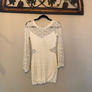 Free People Cream Lace Bodycon Dress, Size Small